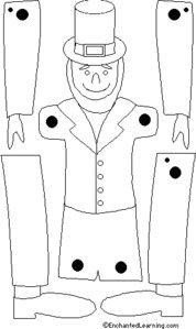 a faire ce joli pantin de la saint patrick ,imprimez sur du bristol ou papier cartonner puis découper soigneusement,attacher les membres avec des attaches parisiennesen noir et blanc comme sa !vous le colorez comme vous le voudrais,et le voici en couleur!!bonne...