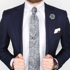 Our new Grey floral linen & silk tie, Herringbone collar-bar shirt and Grey micro lapel pin  www.Grandfrank.com