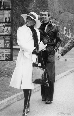 Diana Ross & Anthony Perkins on the set of 'Mahogany' 1975.