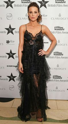 Kate Beckinsale takes centre stage in racy Gothic lace gown as she puts on cosy display with co-star Tom Bennett at the Evening Standard Film Awards Kate Beckinsale, Celebrity Red Carpet, Celebrity Style, Marchesa Gowns, Black Ruffle Dress, Lace Ruffle, Tulle, Red Carpet Gowns, Film Awards
