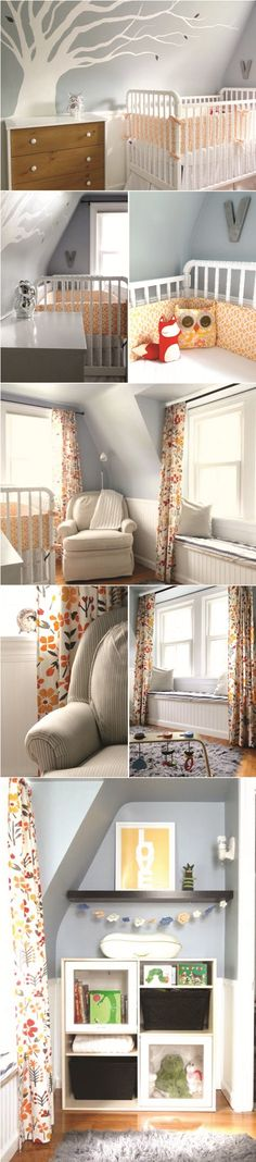 ** Really love how bright this nursery feels.  Curtains look amazing, but should I get black-out curtains??  Nursery Inspiration: Gray and Orange Nursery