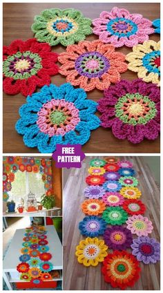 DIY Crochet Flower Power Valance Free Pattern, crochet flower curtains and inspiration for crochet home decorations. Marque-pages Au Crochet, Mandala Au Crochet, Diy Crochet Flowers, Diy Crafts Crochet, Crochet Motifs, Crochet Home, Crochet Projects, Crochet Rugs, Diy Flower