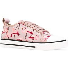 Red Valentino flamingo print sneakers (255 AUD) ❤ liked on Polyvore featuring shoes, sneakers, leather shoes, pink leather shoes, purple sneakers, red valentino sneakers and purple leather shoes