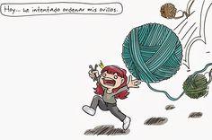 """'No sin mi ovillo' es una serie de viñetas de humor tejeril creada por Silvia, la responsable del blog El Duende de los Hilos, y una de sus hermanas, Sandra, """"la niña a los mandos…"""