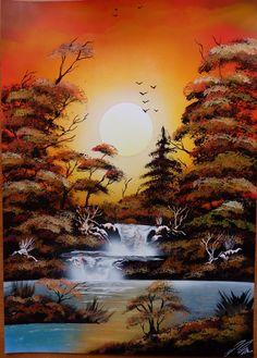 Sunset in nature. Spacepainting, spraypainting art - Ivan Perončík