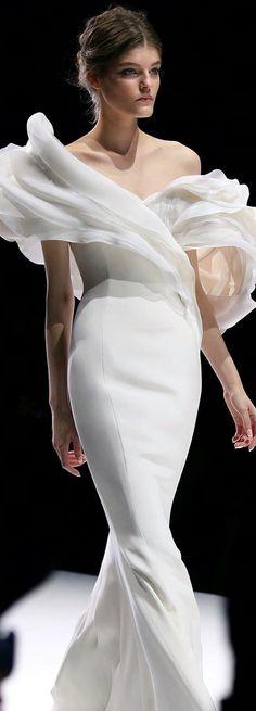 #White Chiffon Evening Dress.Gorgeous