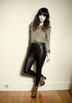 In love with this outfit. Awwdore Western Shirt, Topshop Leather Pants, Dolce Vita Jordanna Boot