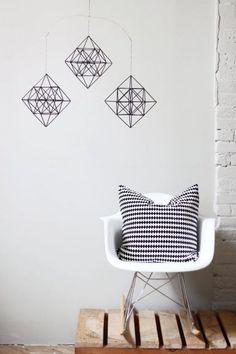 himmeli diamonds - set of 3 - hanging mobile - modern mobile - sculpture - geometric - black - finnish design - home decor Mobile Sculpture, Diy Home Decor, Room Decor, Baby Mobile, Hanging Mobile, Mobiles, Home Decor Inspiration, Diy Projects, House Design