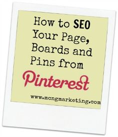 SEO for Pinterest - How to make your pages, boards and pins found online. #seo #socialmedia #pinterest