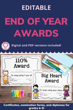 This set includes 202 pages of award certificates, teacher nomination forms, student nomination forms, note home to parents, and diplomas for grades K-5. I have also added blank award templates for you to add in your own award titles. There are also editable templates of ALL awards included so that you can type directly onto each award. With so many different options, you can easily find an award to fit every student in your classroom. Digital versions also included! #endofyear Award Template, Award Certificates, End Of Year, Kindergarten Classroom, Homeschool, Awards, Parents, Teacher, Student