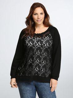 Lace Front Hi-Lo Sweatshirt, DEEP BLACK