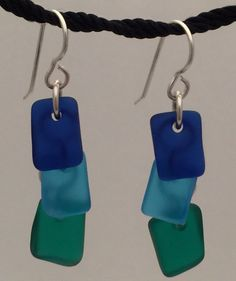 Ocean Jewels Sea Glass Earrings Sterling Silver SeaGlass Cobalt Turquoise Green
