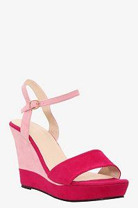 Pink Color Block Ankle Strap Wedge (Wide Width) | Wedges
