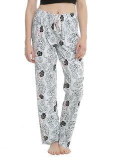 """If you're going to be stuck in a castle for a really long time, you might as well get comfy. Make sure you've got these light blue pajama pants from <i>Beauty and the Beast</i>. The print features Belle, Beast and the Enchanted Rose. Elastic logo printed drawstring waist.<br><ul><li style=""""list-style-position: inside !important; list-style-type: disc !important"""">100% cotton</li><li style=""""list-style-position: in..."""