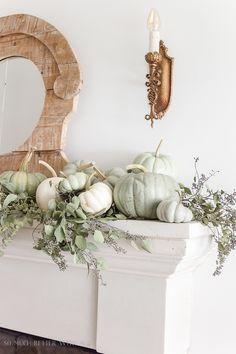 DIY heirloom pumpkin tutorial / pumpkins on mantel - So Much Better With Age