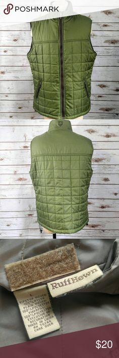 Ruff Hewn Green Quilted Vest Ruff Hewn Green Quilted Vest  Size L in excellent used condition. This has zippered pockets. Please let me know if you have any questions. I ship the same day as long as the post office is still open. Have a great day, thanks for checking out my closet and happy poshing! Ruff Hewn Jackets & Coats Vests