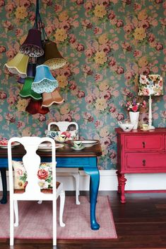 colourful and floral dining room