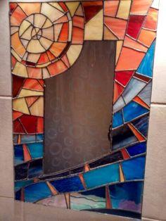 Espejo con marco de vitral