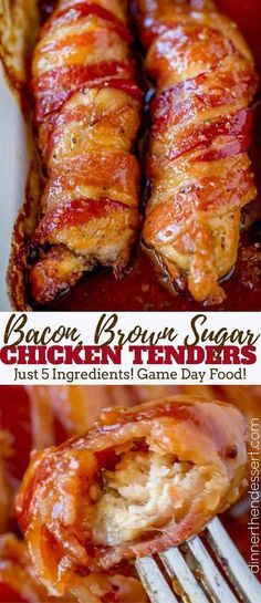 Bacon Brown Sugar Chicken Tenders - Dinner, then Dessert The perfect treat for your game day parties! Brown Sugar Chicken, Brown Sugar Bacon, Chicken Wrapped In Bacon Recipe With Brown Sugar, Maple Syrup Chicken, Brown Sugar Carrots, Brown Sugar Syrup, Brown Sugar Glaze, Frango Bacon, Cooking Recipes