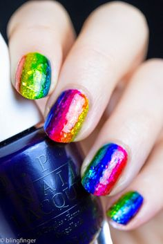SPARKLY RAINBOW WITH OPI COLOR PAINTS. http://www.blingfinger.net/2015/05/sparkly-rainbow-with-opi-color-paints.html