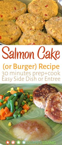 This simple salmon cake recipe is very quick to make, maybe 15 minutes prep time and 10 minutes cook time. While the salmon cakes are cooking, you can cook some quick side dishes, and youve got a quick, easy meal thats filling. Side Dishes For Salmon, Quick Side Dishes, Seafood Dishes, Seafood Recipes, Dinner Recipes, Burger Recipes, Salmon Recipes, Fish Recipes, Yummy Recipes