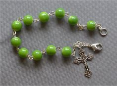 Religious Crucifix Cross  8mm Green Glass by JaysReligiousGifts