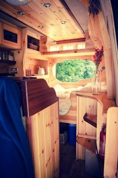 Love these corner shelves making clever use of space. All of the joinery in this campervan is of the highest standard - just beautiful. You can hire him for yourself from London with Quirky Campers.