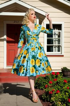 Pinup Couture - 50s Birdie Floral Dress in Baby Blue and Yellow