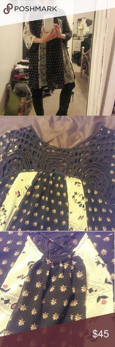 Adorable float midi dress with crochet neckline Multi pattern flowy swing dress. Adorable with tall boots. 11 By Boris Bidjan Saberi Dresses Midi