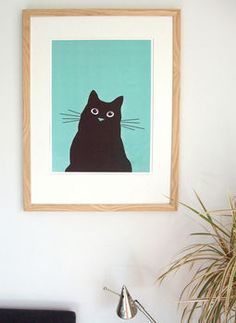 Cat Print Framed