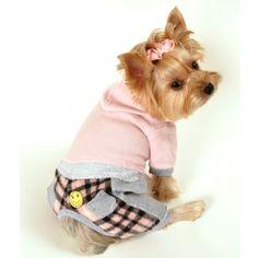 Monkey Daze Designer Dog Apparel - Caelan Vintage Flannel Hoodie Jumper - Color: Pink, Size: XL