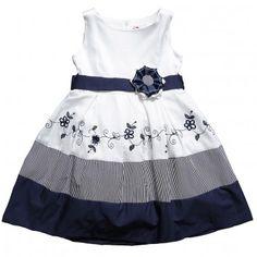 TORRES  GIRLS WHITE & NAVY BLUE FLORAL STRIPE COTTON DRESS