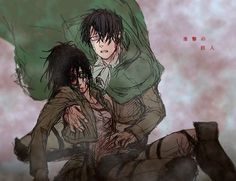 L...Levi...It's okay... You need to go on... Can't have... You dying as well.. *chokes out weakly, looking up at you through half closed eyes*