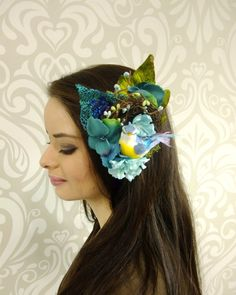 Nesting Bird Fascinator Blue Flower Fascinator by RuthNoreDesigns
