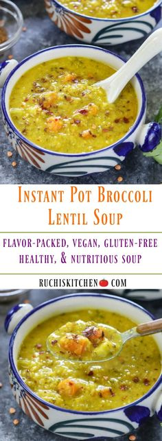 Wholesome Meals A combination of lentil, broccoli, fresh veggies, and spices make up this hearty and healthy Instant Pot Broccoli Lentil Soup. Vegan Lentil Soup, Vegan Soups, Lentil Recipes, Healthy Soup Recipes, Delicious Vegan Recipes, Vegetarian Recipes, Cooking Recipes, Lunch Recipes, Fresco