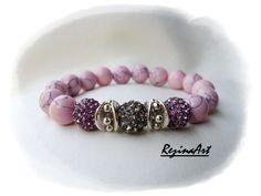 Rózsaszín howlit karkötő Shamballa gyöngyökkel