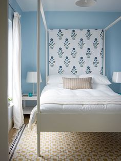 modern English country bedroom of Chichester showhome by Ben Pentreath Ltd ... done on budget, mix Ikea furniture & vintage pieces, great bed, like the colours