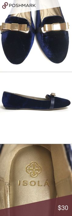 Isola Blue Velvet Slipper Flats With Gold Bow Toe Gorgeous, excellent condition, Isola flats in deep blue velvet. Worn only once and the velvet is in pristine condition. Lightly soiled sole. Gold tone metal bows on the forefoot. Wonderful shoes for a special occasion and also look so cute with skinny jeans or a skirt. Padded heel for comfort. Really nice shoes! Isola Shoes Flats & Loafers