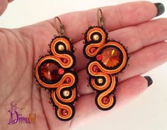 Autumn soutache earrings by Diinabel on Etsy