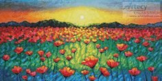 Twilight Poppies - cross stitch pattern designed by Tereena Clarke. Category: Flowers.