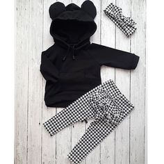 Autumn Winter Lovely Toddler Baby Girls Clothes Sets Ears Hooded Pullover Black Tops+Ruffles Plaid Pants+Headband Source by Pekablu Fall Outfits, Kids Outfits, Bear Hoodie, Ruffle Pants, Legging Outfits, Loungewear Set, Plaid Pants, Stylish Kids, Outfit Sets