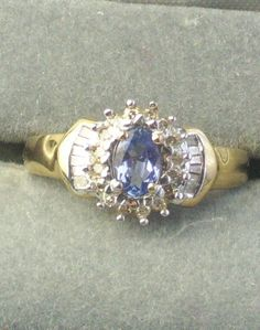10K Solid Yellow Gold Tanzanite & Baguette by WeLoveVintageJewelry, $185.00