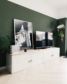 Living Room Green, New Living Room, Home And Living, Living Room Decor, Oval Room Blue, Green Accent Walls, Green Wall Decor, Mid Century Modern Decor, Home And Deco