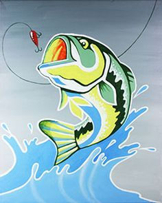 """Social Artworking Canvas Painting Design - Hook, Line, and Sinker This will never be the """"one that got away"""". An ideal design for the man cave to remind him that there's always another fish to pull out of the lake. This is a great design to do for Dad or to paint with him as a special Father's Day activity. CANVAS SIZE:  16"""" x 20"""" TIME TO PAINT:  approximately 2 hours 30 minutes"""