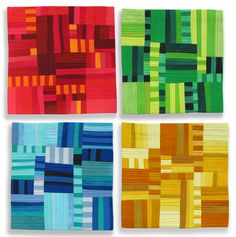4 monochrome quilts by Diane Melms Plaid Quilt, Striped Quilt, Small Quilts, Mini Quilts, Monochromatic Quilt, Geometric Quilt, Geometric Art, Quilt Modernen, String Quilts