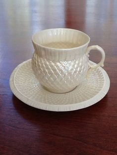 WANT IT.... Gorgeous Belleek Thistle Irredescent Cup and Saucer 1st Black Mark 1863 1890