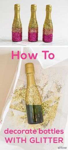These mini-champagne bottles with glitter are the perfect on-table decor for Christmas, New Years Eve and any birthday!