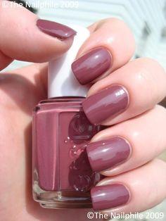 Essie Angora Cardi, Essie - creamy, deep rusty/mauvy rose purple nail…