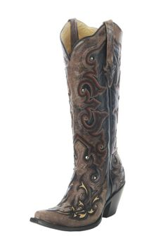 corral boots for women | Boots / Womens Footwear / Corral Black/ Brown Overlay Cowgirl Boots ...