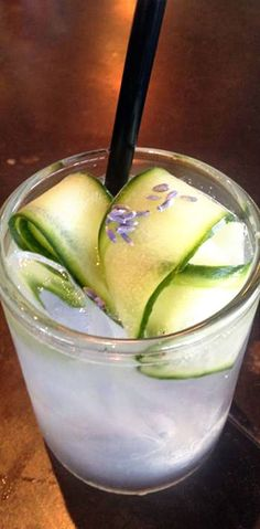 SWEET MELISSA: 2 cucumber slices;  Dash of The Bitter Truth celery bitters;  1½ ounces Troy & Sons moonshine;  ¾ ounce simple syrup (1:1);  ¾ ounce fresh lemon juice;  ¼ ounce green Chartreuse;  Ice;  Pinch of dried lavender.  @Christina Karminsky LOVES #lavender in cocktails!